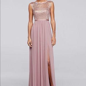 David's Bridal Rose Gold Metallic Bush Dress